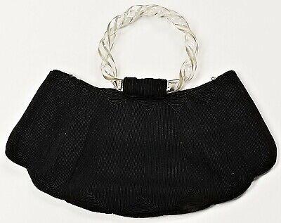 1940s Handbags and Purses History Vintage CORDE 1940's Black Gimp Cord Handbag Purse Twisted Clear Lucite Handle $34.20 AT vintagedancer.com
