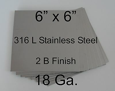 6 X 6 18 Ga 316l Stainless Steel Plates For Hho Drywet Cell Qty 7