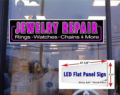 Jewelry Repair Led Illuminated Window Sign 48x12 Flat Panel Sign
