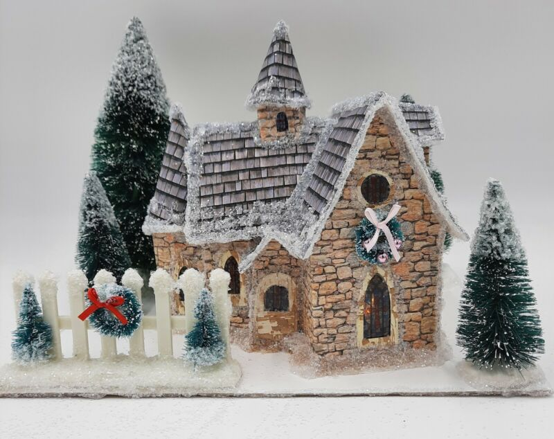 Country Stone Church Paper Putz House