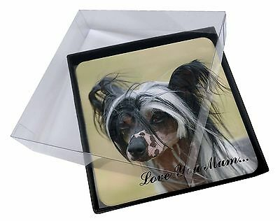 4x Chinese Crested Dog 'Love You Mum' Picture Table Coasters Set in, AD-CHC2lymC
