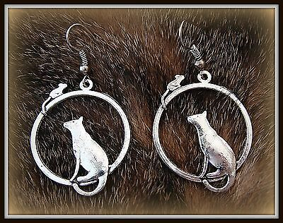 Kitty CAT KITTEN and Mouse EARRINGS JEWELRY Retro Art Deco style Feline