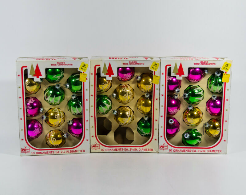 3 Boxes Kmart Pink Green Yellow Glitter Glass Christmas Tree Ornaments 28 Ct