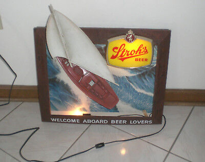 STROH'S STROH STROHS BEER ELECTRIC BOAT SIGN - WELCOME ABOARD BEER LOVERS