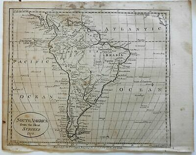 South America Brazil Peru Paraguay Chile 1799 Low early American engraved map