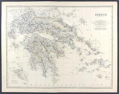 Large Antique Map of Greece c1869 Keith Johnston Royal Atlas original colour