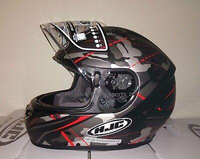 Camo Large Helmet (HJC CS-R3 Songtan Motorcycle Helmet Satin Gray Camo w/ Red LG Large )