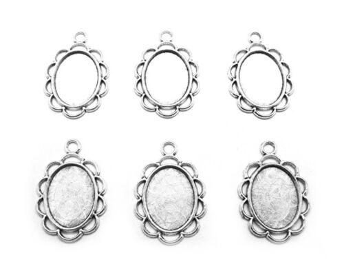 6 Antiqued SILVERTONE TAMMY Style 18mm x 13mm CAMEO PENDANT Earrings Settings