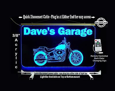 Personalized Led Sign  Man Cave  Garage  Harley Davidson Motorcycle Sign