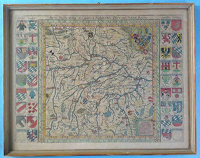 Barock kolorierter Kupferstich Landkarte Ober- Niederbayern P. Weiner Apian~1579