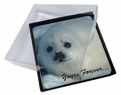 4x Snow Seal 'Yours Forever' Picture Table Coasters Set in Gift Box, AF-S14C