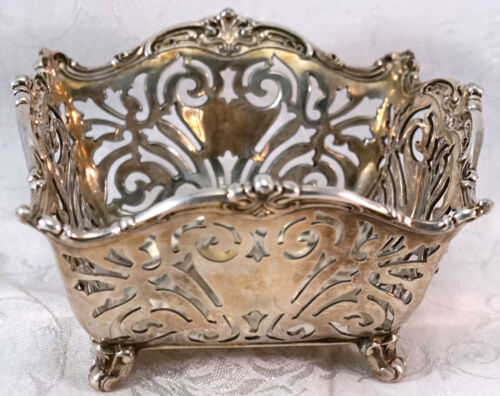 Antique Reed & Barton 905 Silver Square Footed Bowl or Basket Pierced Design