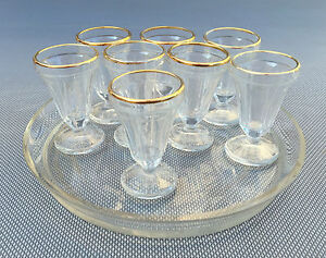 ancien service digestif 6 verres plateau ann es 30 art d co french antique ebay. Black Bedroom Furniture Sets. Home Design Ideas