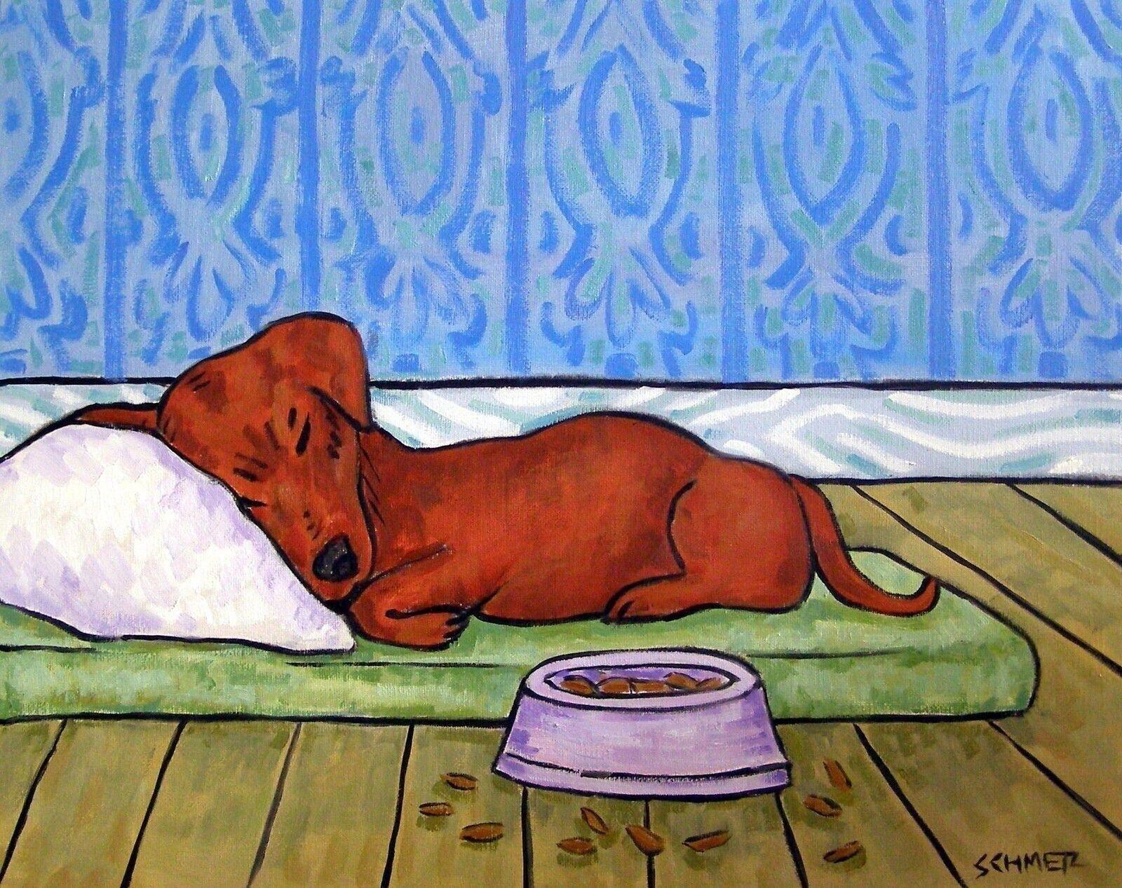 DACHSHUND BATH painting animal pet dog Art print 13x19 glossy photo print