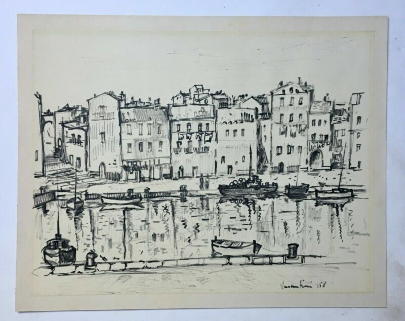 Marker drawing signed and dated 1958, Large format, View of the port, 20th...