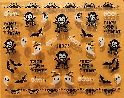 Nail Art 3D Decal Stickers Halloween Ghost Dracula Bat Trick or Treat Boo JH075