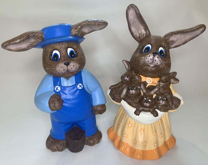 """Vintage Easter Decor Pair Ceramic Mr and Mrs Bunny Rabbit 11"""" & 12"""""""" From 2/89"""