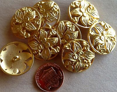 (8 Gold Tone Metal Shank Buttons Domed Pierced Flower Floral 7/8
