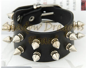Punk Goth Emo Black Leather Studded Spike Wristband Bracelet