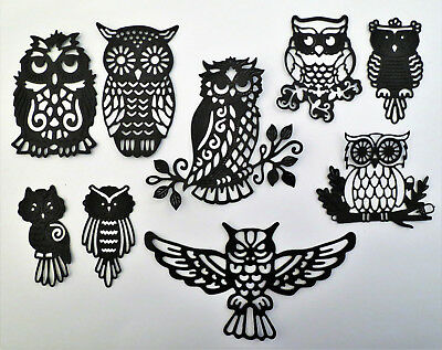 Intricate Owl Owls 9 pcs Black Paper Die Cut Scrapbook Embellishment - Owl Scrapbook Paper