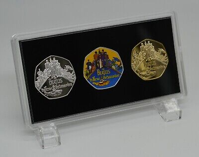 THE BEATLES.TRIO SET IN PRESENTATION CASE.YELLOW SUBMARINE. 50p COIN COLLECTORS