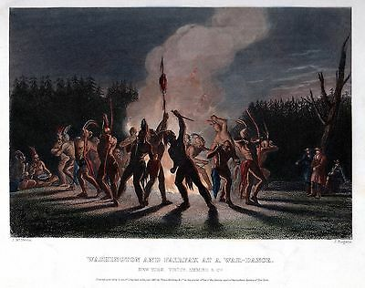 RARE 1857 GEORGE WASHINGTON & FAIRFAX at INDIAN WAR DANCE ~ BLUE RIDGE MOUNTAINS