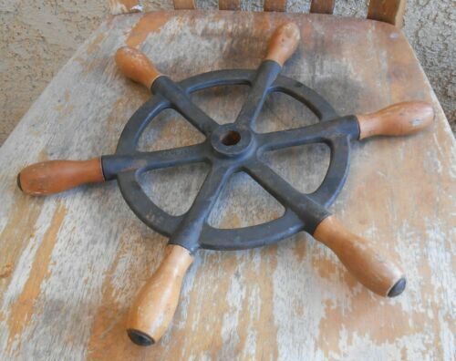 Old Vintage Steampunk Chinese Nautical Maritime Ship Industrial Mechanical Wheel