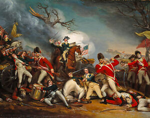 American Revolutionary War Painting: Battle of Princeton Real Canvas Art Print