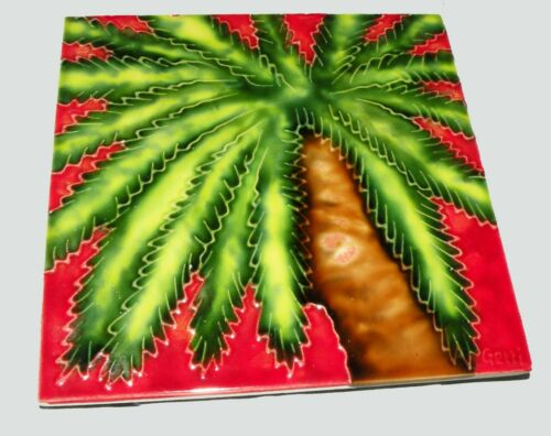 Tropical Island Palm Tree Ceramic Tile Art 6X6 Inches signed GETTI