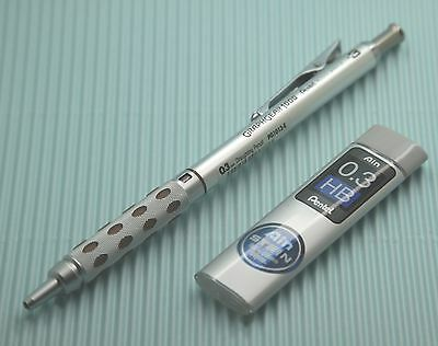 Pentel GRAPHGEAR 1000 0.3mm Mechanical Drafting  Pencil +0.3mm Refill leads