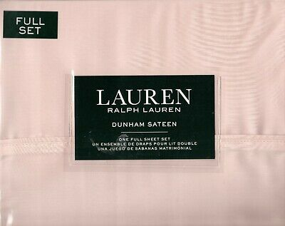 Ralph Lauren Full Sheet Set Pink Champagne 4pc Vintage French Cottage 300TC Girl Sheet Set Champagne
