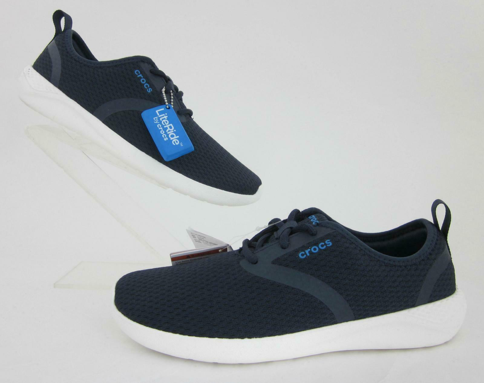 *NEW!* Crocs 'LiteRide Mesh Lace' Mens Sneakers Navy / White