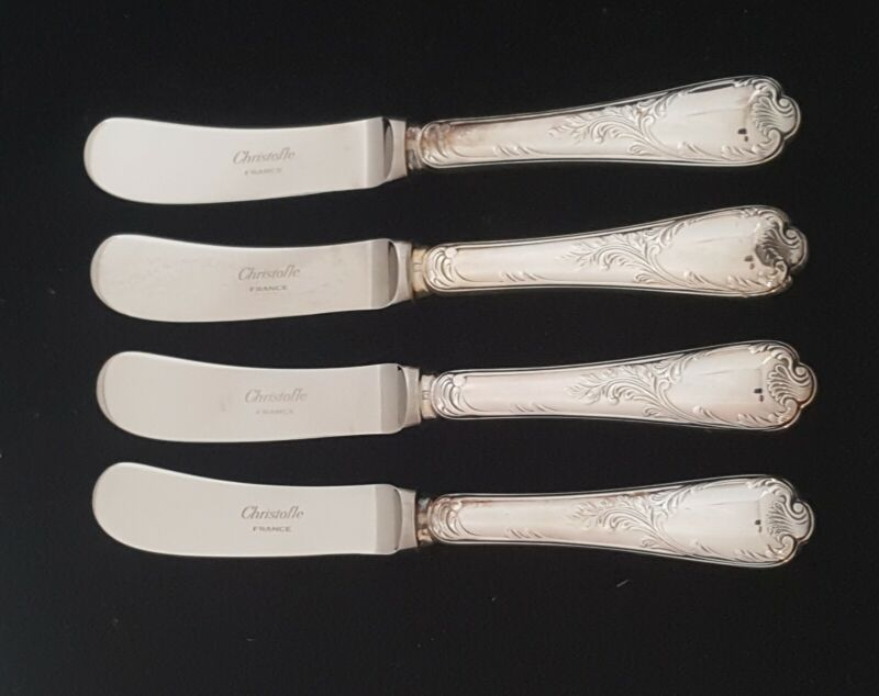 """Christofle France Marly Silverplate Butter Spreaders Knife Lot 4 Shiny EUC 6.5"""""""