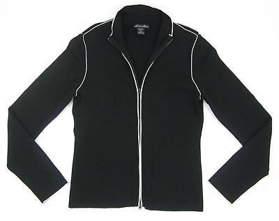 Lillie Rubin Fine Gauge Knit Full Zip Cardigan Sweater Black Ecru Size Medium   Full Zip Fine Gauge