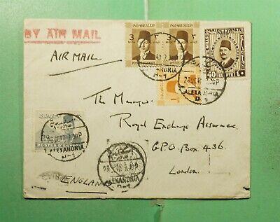 DR WHO 1940 EGYPT ALEXANDRIA PAIR AIRMAIL TO ENGLAND  g18162