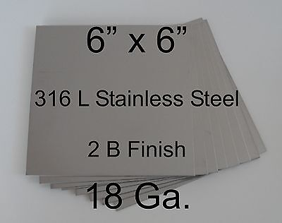 13 Pcs 316l 18 Ga 6 X 6 Stainless Steel Plate For Diy Hho Cell