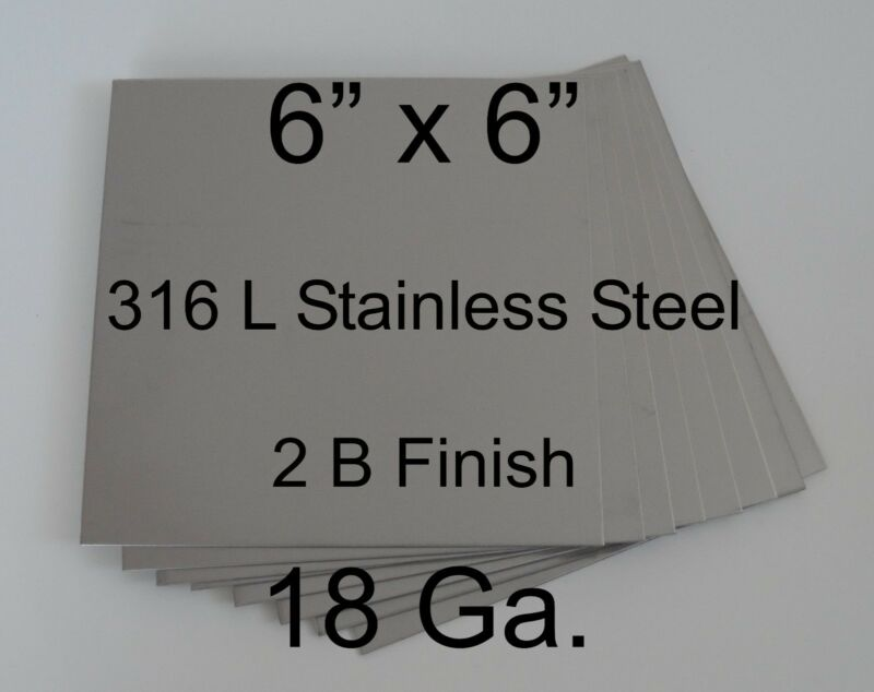 "13 pcs 316L 18 Ga 6"" x 6"" Stainless Steel Plate for DIY HHO cell"