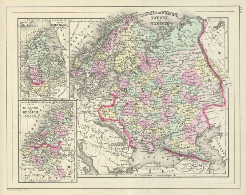 1887 Bradley Map of European Russia, Scandinavia, Holland, Belgium and Denmark.