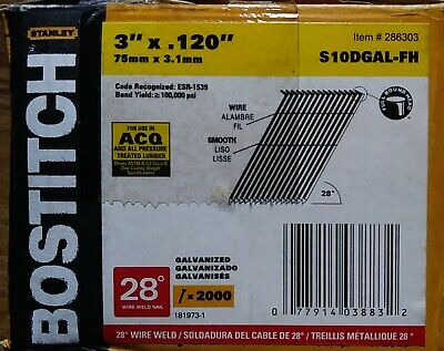 Bostitich 3120 28 Wire Weld Smooth Galvanized Framing Nails S10dgal-fh