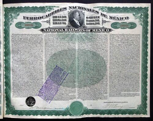 1907 Mexico: National Railways of Mexico, uncancelled $100 Gold Bond