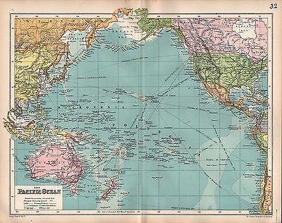 1903 MAP ~ PACIFIC OCEAN BRITISH POSSESSIONS AUSTRALIA MALAYSIA POLYNESIA