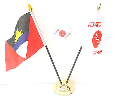 Antigua and Barbuda & Tokyo Japan Olympics 2020 Desk Flags & 59mm BadgeSet