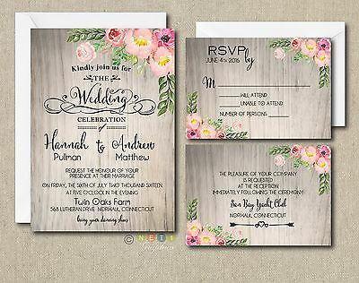 100 Personalized Watercolor Rustic Floral Botanical Wedding Invitation Suite](Floral Wedding Invitations)