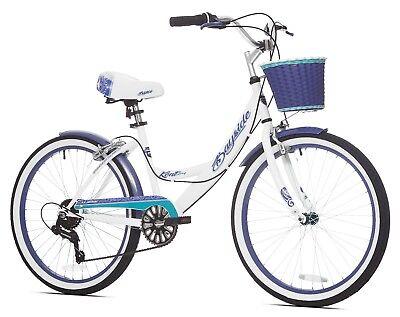 Beach Cruiser Bicycle Bike Womens 24 Inch Girls 7 Speed Vintage Style Basket
