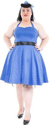 PinUp POLKA DOTS 50s Petticoat NECKHOLDER Kleid - PLUS SIZE Blau Rockabilly - Plus Size Petticoat