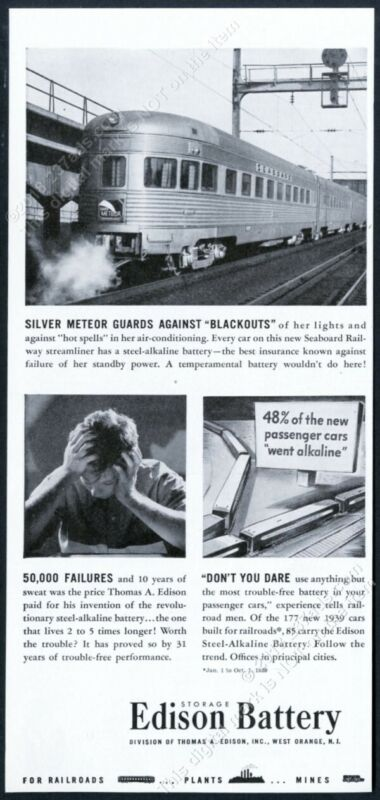 1940 Seaboard Railway Silver Meteor train photo Edison Battery vintage print ad