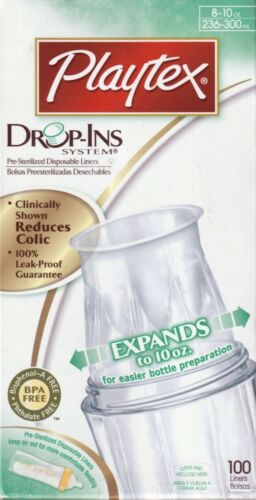 PLAYTEX DROP-INS 100 COUNT BOTTLE LINERS 8-10oz