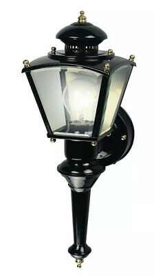 Heath HZ-4150-BK Zenith Motion-Activated Four-Sided Coach Light Black Brass Brass Coach Lights