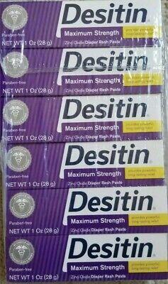 Desitin (6 Pack) Maximum Strength Diaper Rash Paste 1oz Tubes Each 07/2020! Each 1 Oz Tube