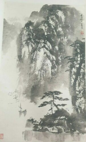 Old Vintage Chinese Hanging Paper Silk Scroll Painting Landscape